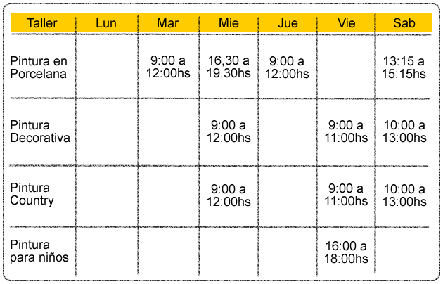 Horarios de cursos y talleres - Aldeas del Sol
